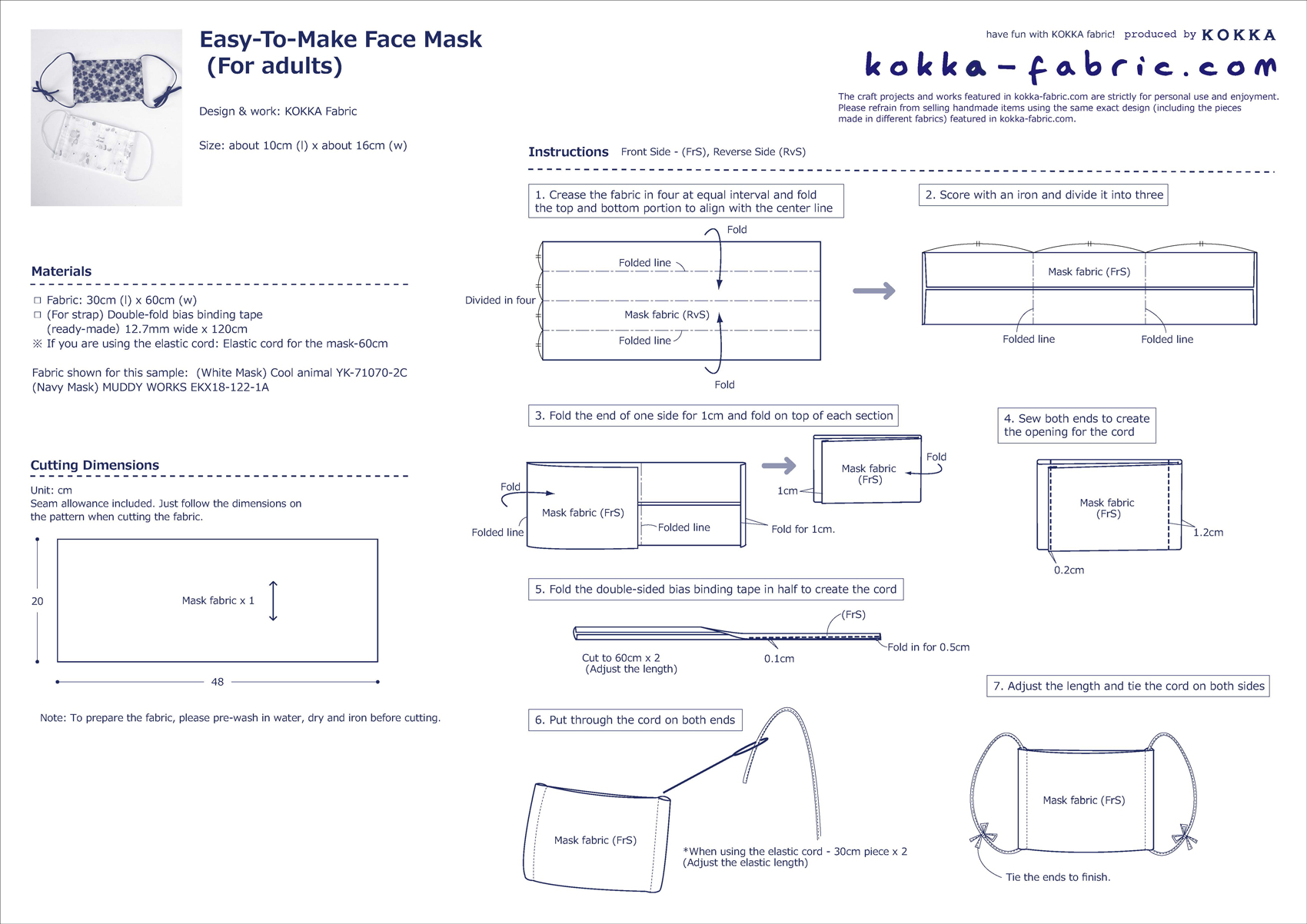 Easy To Make Non Elastic Band Face Mask Sewing Instructions